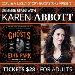 Author Karen Abbott and The Ghosts of Eden Park book cover