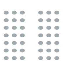 Room setup icon of multiple rows of seating separated by dividing aisle in middle